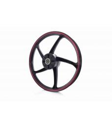 """Диск колеса задний  17""""-1.40  Дельта  литой, черный с красной полосой"""