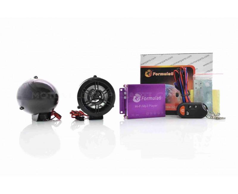 """Аудиосистема 2.0  MP3 (USB/SD), пульт, сигнализация  """"FORMULA6""""  (черная)"""