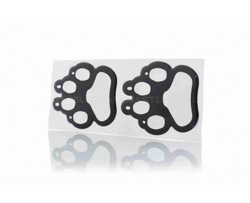 Наклейки Лапа собаки 2шт черно-серебро (60-50mm) силикон